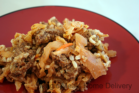 1. Beef and Cabbage Roll Skillet